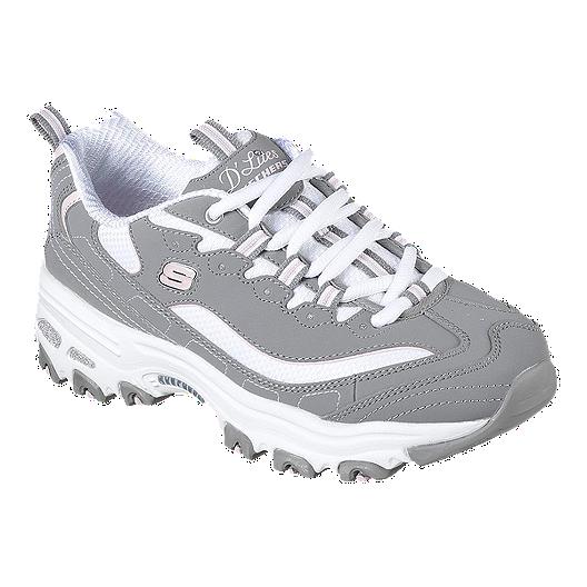 2e8ed992e2aa Skechers Women s D Lites Biggest Fan Shoes - Grey White