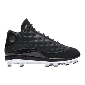 best sneakers 56102 89357 Nike Men s Air Jordan Retro 13 Mid Cut Baseball Cleats - Black White