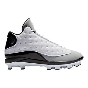 promo code a10e1 e5564 Nike Men s Air Jordan Retro 13 Mid Cut Baseball Cleats - White Black Grey