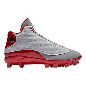 4204e9a13bf164 Nike Men s Air Jordan Retro 13 Mid Cut Baseball Cleats - White Red Grey