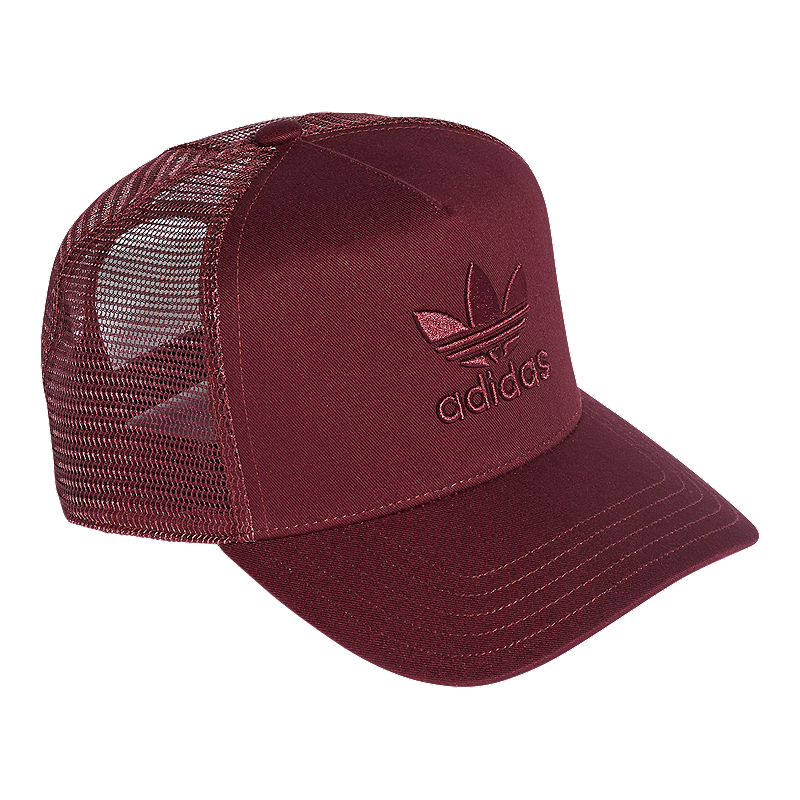 adidas Originals Women s Trefoil Trucker Hat - Maroon  ee55b29be