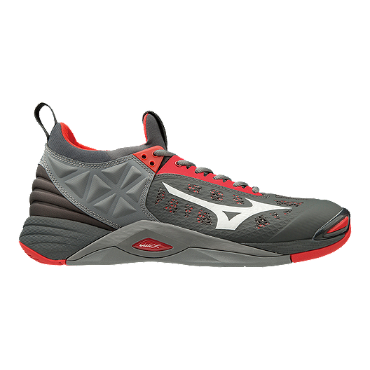 d5847ae19480 Mizuno Men's Wave Momentum Indoor Court Shoes - Red/Grey | Sport Chek