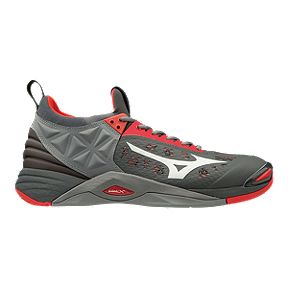 the best attitude cff7f ff7f3 Mizuno Men s Wave Momentum Indoor Court Shoes - Red Grey