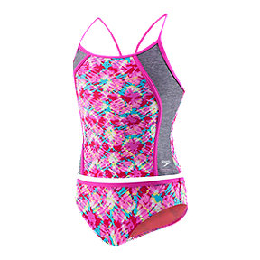 Speedo Girls' Printed Tie Dye Tankini