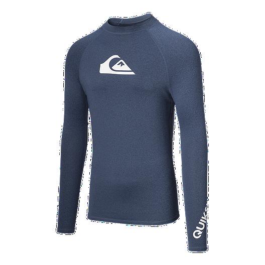 5407314b546ee Quiksilver Men's All Time Short Sleeve Rash Guard - Denim | Sport Chek
