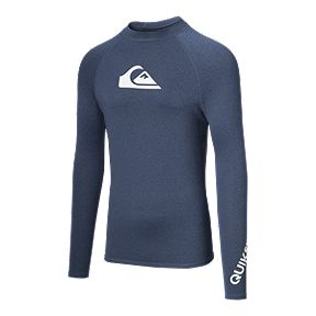 b0fde895a1 Quiksilver Men s All Time Short Sleeve Rash Guard - Denim