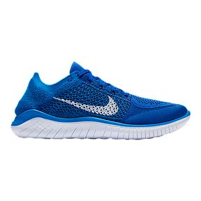 Nike Men s Free RN Flyknit 2018 Running Shoes - Blue White 5e55f6282