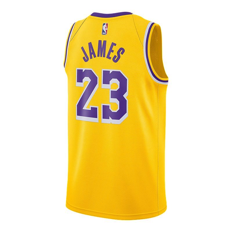 f8a7966fa845 LA Lakers Nike Men s LeBron James Icon Swingman Jersey (886061194281) photo