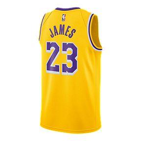 06a9ae4c5 LA Lakers Nike Men s LeBron James Icon Swingman Jersey
