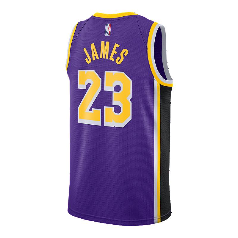 81aa9a6bd70 LA Lakers Nike Men s LeBron James Statement Swingman Jersey