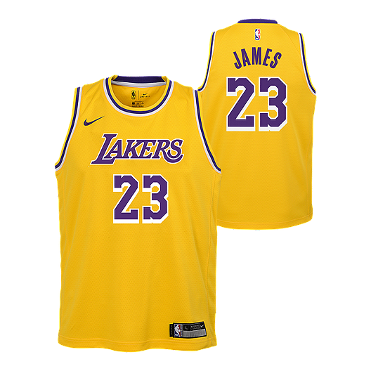 check out 72688 34c84 Youth Los Angeles Lakers LeBron James Icon Yellow Jersey