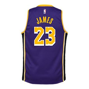 752ab9c93 Youth Los Angeles Lakers LeBron James Statement Purple Jersey