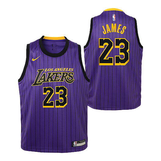 fa036b013cae Youth Los Angeles Lakers James City Edition Replica Purple Jersey ...