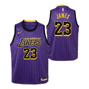 5a1938205b2f Youth Los Angeles Lakers James City Edition Replica Purple Jersey