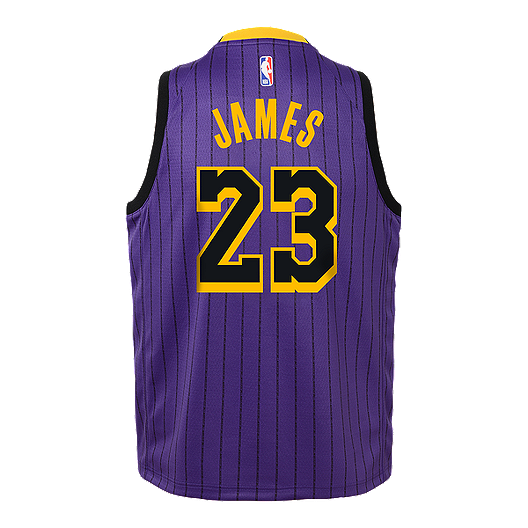 Youth Los Angeles Lakers James City Edition Replica Purple Jersey Sport Chek