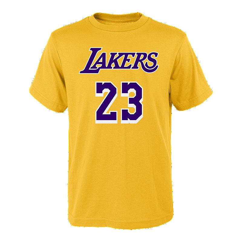 designer fashion 13b64 fcb9d LA Lakers Youth LeBron James Player Tee