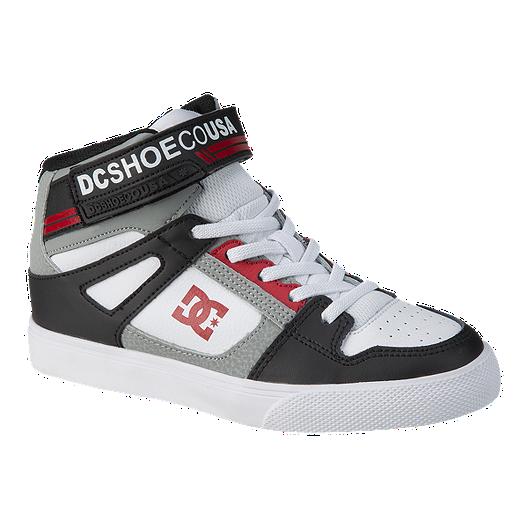 fa69c17f49 DC Boys' Pure High EV High-Top Grade School Shoes - Black/Grey/Red