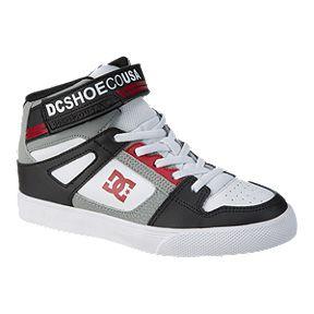 9fcb59b72c3038 DC Boys  Pure High EV High-Top Grade School Shoes - Black Grey