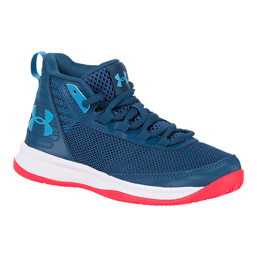 bff5ebd54105 Under Armour Boys  Jet Pre-School Basketball Shoes - Petrol Blue White