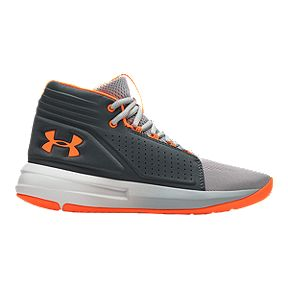 lowest price 2285e afa33 Under Armour Boys  Torch Mid Basketball Grade School Shoes - Mod Gray Orange