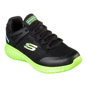 Skechers Boys' Elite Flex Waterproof Grade School Shoes - Black/Lime
