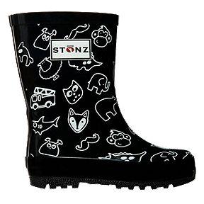 7cb618ea2a15 Stonz Girls  Pre-School Rain Boots - Black White Print