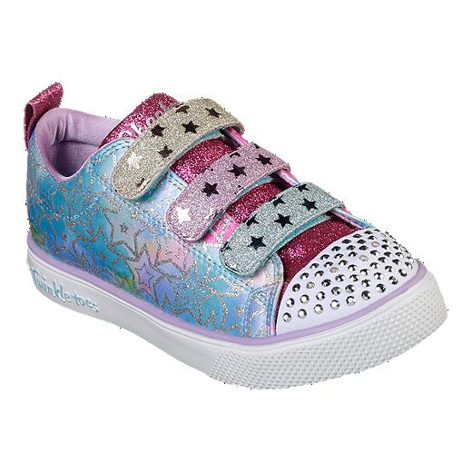b695d50fdf6a Skechers Girls' Twinkle Toes Breeze 2.0 Pre-School Shoes - Silver/Multi -