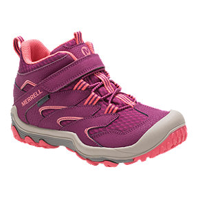 Merrell Kids' Chameleon 7 Access Mid Waterproof Hiking Boots - Berry/Coral