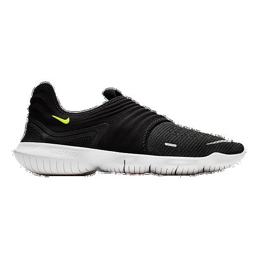 Nike Men's Free RN Flyknit 3.0 Running Shoes BlackGreenWhite