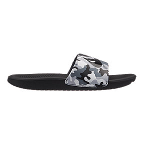 Nike Kids' Kawa Camo Slide Sandals - Wolf Grey/Black