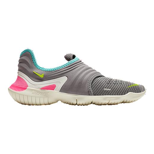 Nike Women's Free RN Flyknit 3.0 Running Shoes GreyGreenPink