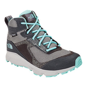 The North Face Girls' Hedgehog Hiker II Mid Waterproof Hiking Boots - Blackened Pearl/Aqua Splash
