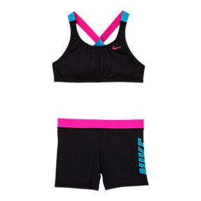 Nike Girls' Crossback Sport Bikini With Shorts 2-Piece