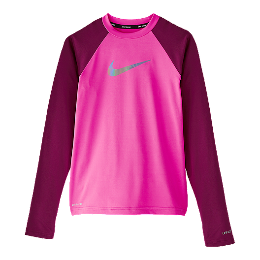 c1e256add Nike Girls' Flash Colour Block Long Sleeve Hydroguard   Sport Chek