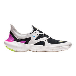 Nike Men's Free RN 5.0 Running Shoes - White/Black/Pink/Lime