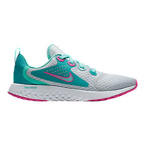Nike Girls' Legend React Aqua Grade School Shoes - Pure Platinum/Tropical