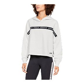 6a424b1795c0 Under Armour Women s Taped Fleece Hoodie - Onyx White