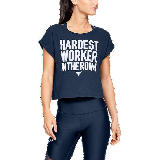 c2c4932e9 Under Armour Women's Project Rock Hardest Worker Cropped T Shirt - Academy  | Sport Chek