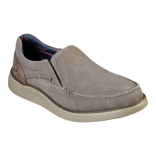 Skechers Men's Status 2.0 Slip on Canvas Shoes Khaki