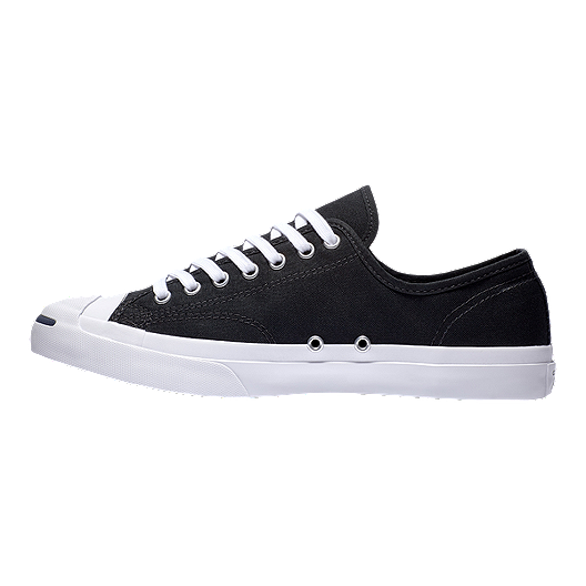 50a33bd5b3fc6e Converse Men s Jack Purcell Tumbled Leather Low Top Shoes - Ox Black White