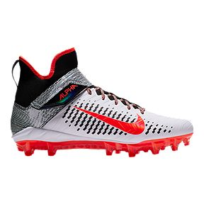 acd04af7fbf53 Nike Men s Alpha Menace Pro 2 Mid Cut Football Cleats - White Red Black