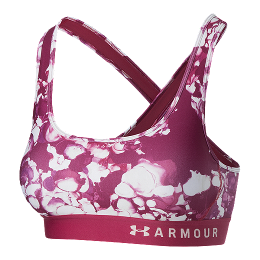 a129ea4e367 Under Armour Women s Armour Crossback Printed Mid Sports Bra - Impulse Pink  - IMPULSE PINK -