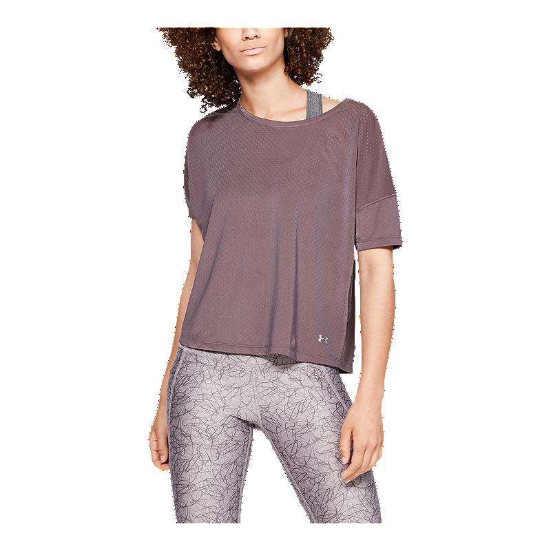 sonrojo rumor Miniatura  Under Armour Women's Sport Mesh Oversized Studio T Shirt - Ash Taupe |  Sport Chek