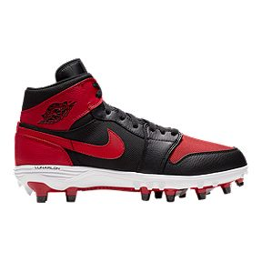 7a01061709a Nike Men s Jordan 1 TD Mid Cut Football Cleats - Black Red