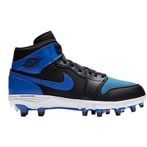 check out 647fd 93d4c Nike Men s Jordan 1 TD Mid Cut Football Cleats - Black Blue