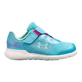 eaea8626 Under Armour Girl Toddler Surge Prism AC Running Shoes - Venetian Blue/Fluo  Fuchsia