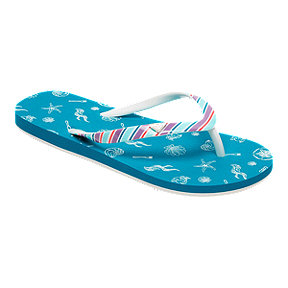 Roxy Girls' Little Mermaid Pebbles VI Flip Flop Sandals - Teal
