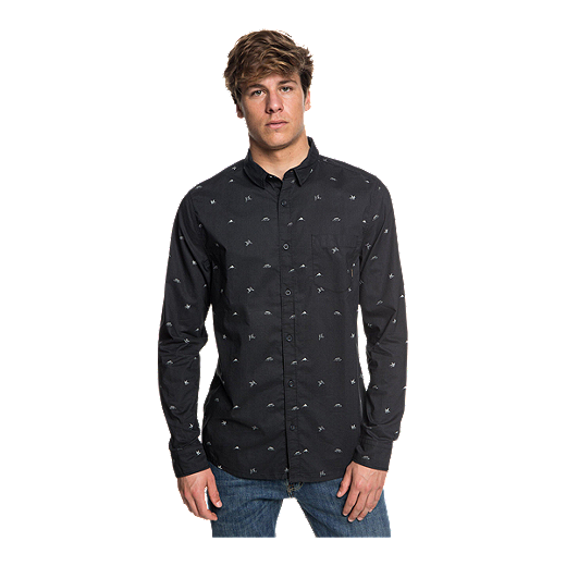 fe61751c6d Quiksilver Men's Fuji Mini Motif Long Sleeve Shirt - Tarmac