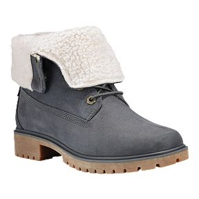 51d99daa7682c Timberland Women's Jayne Waterproof Fleece Fold Down Boots - Dark Grey