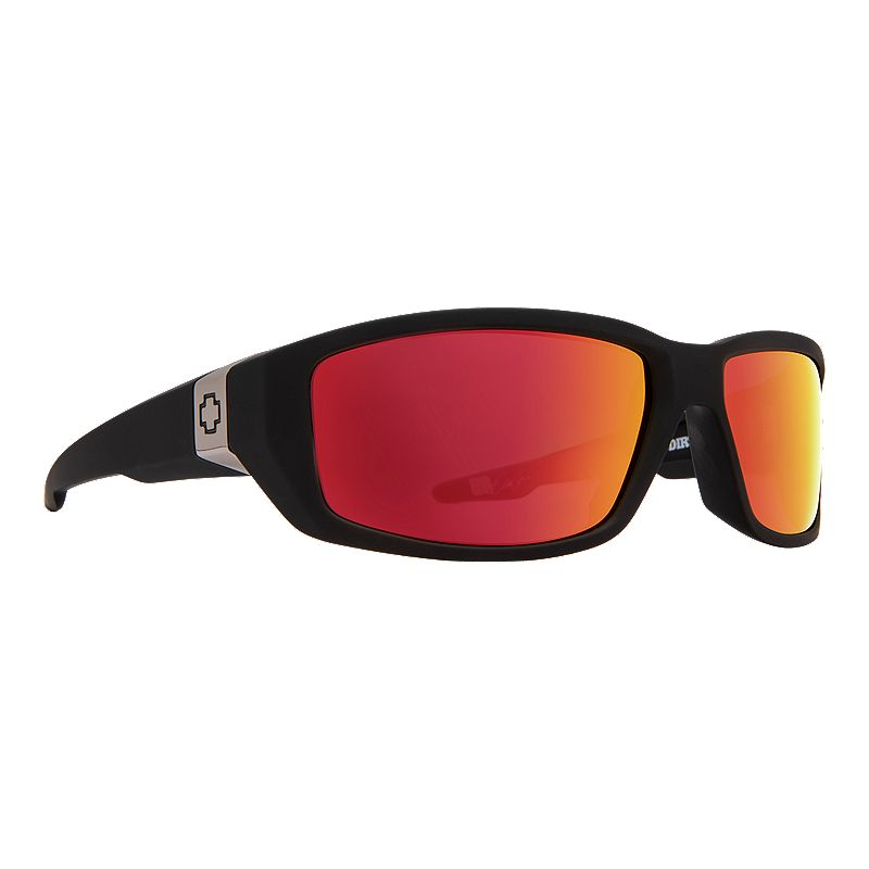 Image of Spy Dirty Mo Matte Black Sunglasses - Happy Rose w Red Spectra Mirror